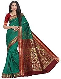 Craftsvilla Women's Silk Blend Zari Border Designer Green Saree With Blouse Piece