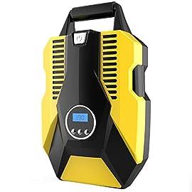 Greensen Compressore dAria Portatile 5V 120W Gonfiatore di Pneumatici Automatico Compressore dAria Digitale Elettrico con Lampada a LED per Auto//SUV//Moto//materassino//Bici ECC