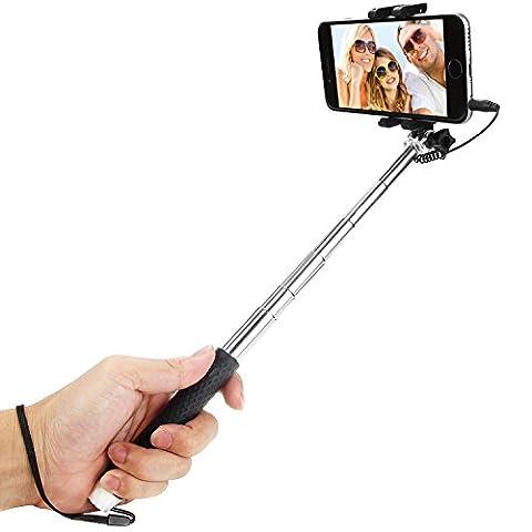 IDACA Mini Perche de Selfie stick,Perche Monopode Sans Bluetooth Selfie Stick Perche pour Apple iphone 6s plus/6s/6 plus/6/5s/5, iPod, Samsung Galaxy S6/S5/S4/S3, Note 4/3/2 et la plupart des autres smartphones (Mini Perche de Selfie stick)