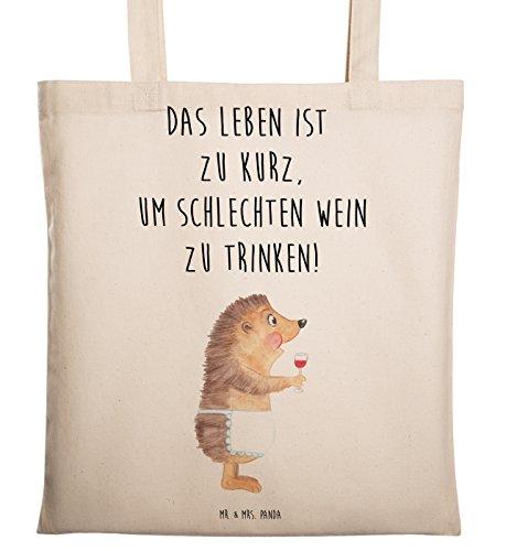 Mr. & Mrs. Panda Tragetasche Igel mit Wein - Wein Spruch, Igel, Geschenk Weintrinker, Geschenk...