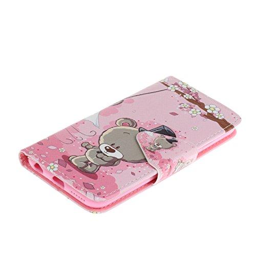Cozy Hut Portefeuille Housse Coque à rabat pour iPhone 6 6S, iPhone 6 6S Bookstyle Coque Wallet Cuir Folio Housse, iPhone 6 6S Leather Wallet Case PU Cover Skin,Coque iPhone 6 6S (4.7 Pouces) - Élégan Couple ours