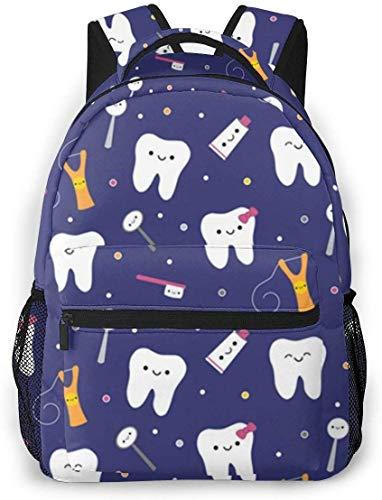 Cool Schulrucksack, wasserabweisend, für Teenager Jungen, Schule, Buchtaschen, College, Studenten, Reisen, Laptop-Tasche (Blauer Dental-Stoff, Zahnpasta)