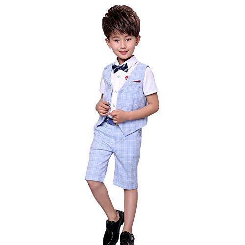 4 Stück Jungen Sommer Hochzeit Freizeit Anzug Weste Shirt Short mit Bowtie (Blau, 128/134) - Jungen Anzug Set