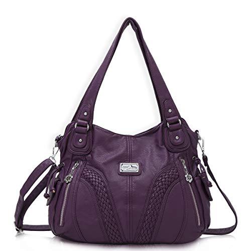 angel kiss Hobo Tasche Schultertaschen Handtaschen Umhängetaschen Henkeltaschen Fredsbruder Taschen Damen Weiches Leder (1555-Violett) (Violetta Handtasche)