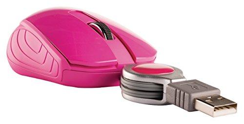 Eurosell Mini USB Maus - Kabel Aufroller einziehbar - Laptop Computer Notebook Pc - Optisch - rosa pink -