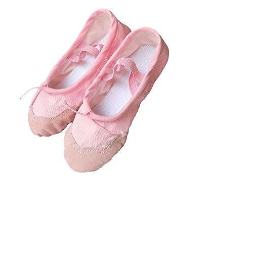 Baysa - Ballettschläppchen aus Leinengewebe mit Lederverstärkung - in verschiedenen Farben und Größen Rosa