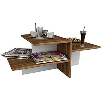 WHISPER Table basse de salon - Blanc   Noyer - Table de canapé - Bout de  Canapé - Table café moderne dans un design à la mode 47b465507099