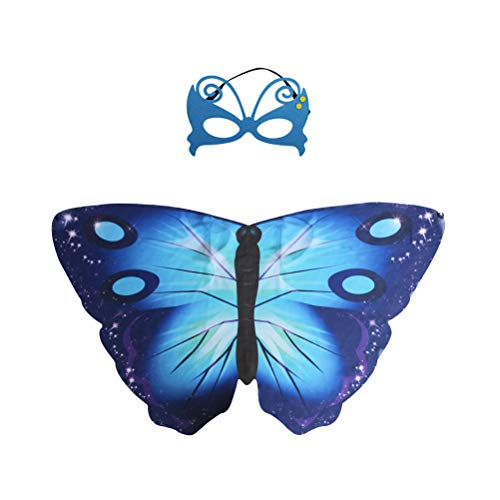 BESTOYARD Schmetterling Mantel Halloween Cosplay Chiffon Tiere Flügel Cape Maske Set Leistung Requisiten für Kinder Cosplay Kostüm Party (Blau)