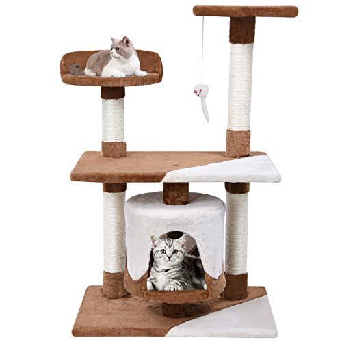 MC Star Árbol para Gato con Rascador de 95cm,Arañazo Juguete de Gatos de Sisal Natural,Marrón y Beige