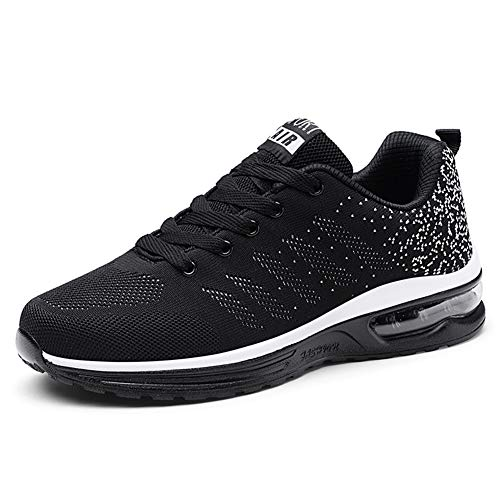 Axcone Homme Femme Air Baskets Chaussures Outdoor Running Gym Fitness Sport Sneakers Style Running Multicolore Respirante-886 Noir Blanc 40