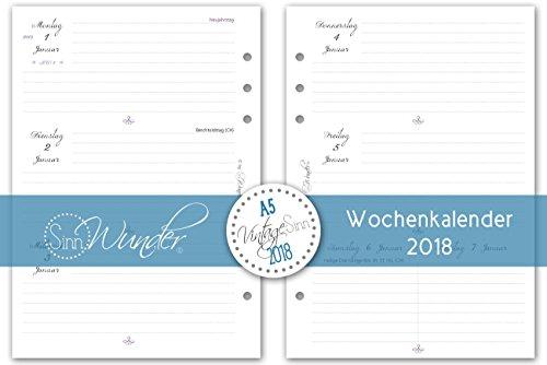 SinnWunder Kalendereinlagen 2018, A5, verschiedene Designs, Wochenkalender, 1 Woche 2 Seiten, Inlay für Planer - Design VintageSinn