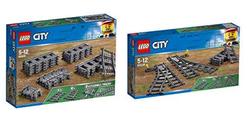 Steinchenwelt Lego City 2er Set: 60205 Schienen + 60238 Weichen für die ferngesteuerte Eisenbahn (City Lego Eisenbahn-set)