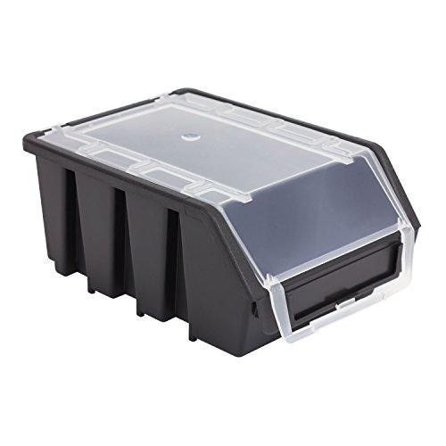 1 Stück Stapelbox Stapelkiste Sortierbox mit Deckel Größe 2 schwarz Ergobox Plus Regalbox Kunststoff Lagerkiste