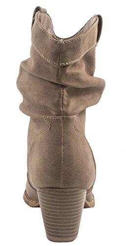 Elara Donna Ankle Boots   alla moda Cowboy Boots   effetto pelle stivaletti cachi