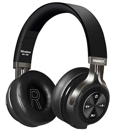 Riwbox XBT-880 Bluetooth-Kopfhörer, kabellos, mit Mikrofon und Lautstärkeregler, kabellos und verkabelt, faltbar, für iPhone/iPad/PC/Handys/TV Schwarz/Grau (Iphone 4 Haut Bedeckt)