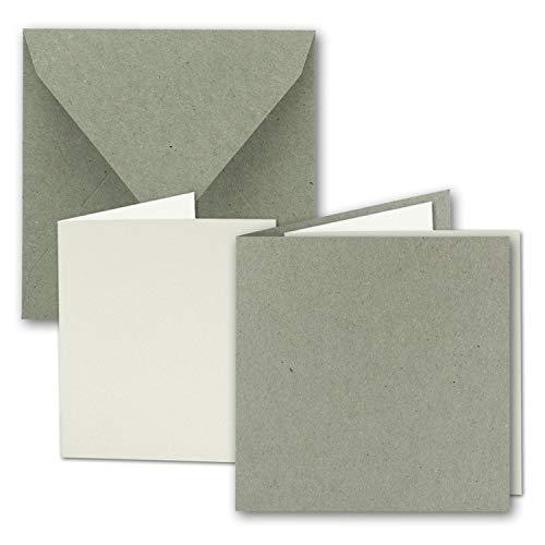 Quadratisches Faltkarten Set aus Kraft-Papier in Natur-Grau 15,0 cm - 150 mm | 25 Sets | Doppel-Karten & Briefumschläge & Einlegeblätter aus Recycling-Papier | Serie UmWelt