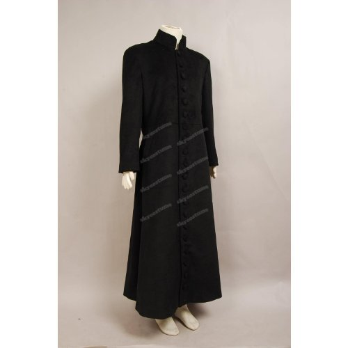 Matrix Neo Graben Mantel Kostüm schwarz Wolle Stoff (Matrix Neo Kostüm)