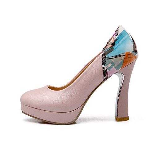 VogueZone009 Femme Matière Souple Rond à Talon Haut Tire Couleurs Mélangées Chaussures Légeres Rose