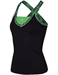 Naffta CA739 - Camiseta asas para mujer, color negro / verde vibrante, talla S