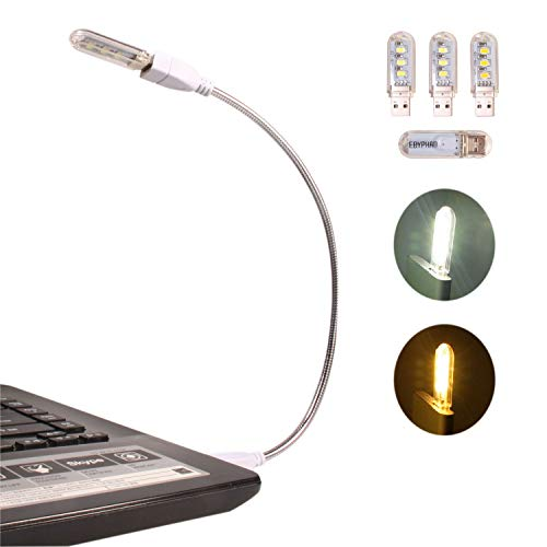 Notebook Lampe (Ebyphan Mini LED USB Lampe, Flexible Tastaturlicht für Laptop PC Computer, Einstellbar Schwanenhals + Abnehmbarer Lampenschirm, 4 Gemischte LED USB Licht (2 Weiß + 2 Warmes Gelb))
