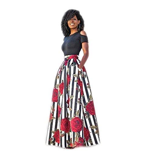 Koly donna gonna a ruota larga con stampa floreale attillata vestito da cocktail in due pezzi elegante vestiti abito senza spalline vestito slim fit manica corta abiti da sera (sexy rosso, xl)