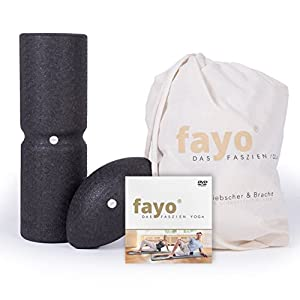 Liebscher & Bracht FAYO Faszienrolle mit Umlaufrille – Faszienball – Faszienset für Yoga, Training & Selbstmassage