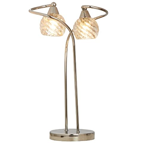 Contemporary Libby Criss Cross Chrome 2 Arm Spiral Clear Glass Light Shades Table Lamp