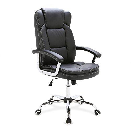 WOLTU Bürostuhl Chefsessel Schreibtischstuhl Drehstuhl mit Hoher Rückenlehne, ergonomisches Design, höhenverstellbar, mit Wippfunktion, Sitzfläche aus PU Kunstleder, Schwarz, BS11sz