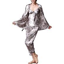 Jusfitsu Mujer Pijama Manga Larga 3-in-1 Mujer camisones Satén suave y cálido