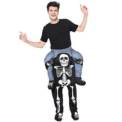 Skelett Kostüm Männliches - CAGYMJ Männlich Kleidungs Halloween Hosen,Festival Cosplay Onesies Overall Skelett Bringen Sie Leute,Oktoberfest Bühnen Party-Performances Kostüm