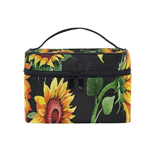 Kosmetiktasche, Make-up Tasche, Cosmetic Bag Sunflower Wildflower Womens Makeup Organizer Girls Toiletry Case Box Lazy Zip Bag -