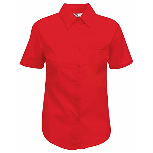 Fruit Of The Loom Lady-Fit Poplin Bluse, kurzarm Small,Red (Womens Double-knit)