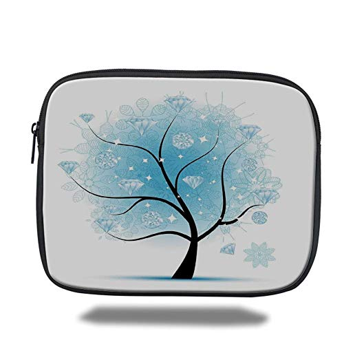 Tablet Bag for Ipad air 2/3/4/mini 9.7 inch,Tree,Fairy Floral Winter Tree with Diamond Leaves on Branches Digital Prints Decorative,Blue Black,Bag