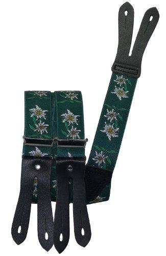 Hosenträger mit Knopfloch Edelweiss, Größen:120 cm;Farben:grün