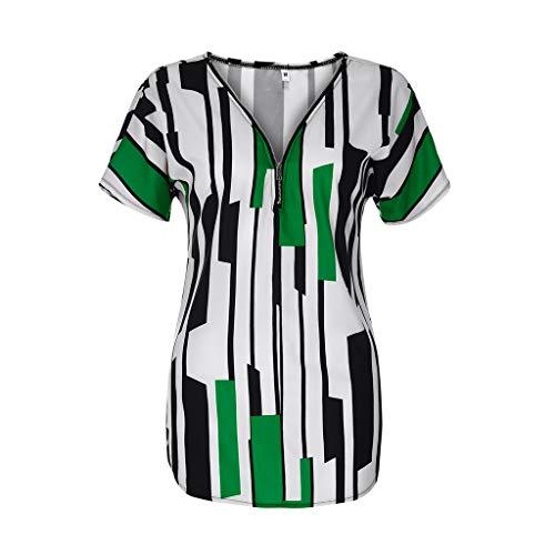 Kviklo Damen Plus Size Tunika Top Gestreift Farbblock T-Shirt Kurzarm Half-Zip Tee Oversize(M(38),Grün) Storm-fit Half Zip