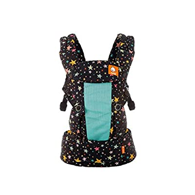 Baby Tula Coast Explore Mesh Baby Carrier 7 – 45 lb, Adjustable Newborn to Toddler Carrier, Multiple Ergonomic Positions Front and Back, Breathable – Coast Rainbow Stars, Multi-Colored with Aqua Mesh