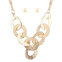 YAZILIND Alloy Hoop Chains Necklace Stud Earring Jewelry Set