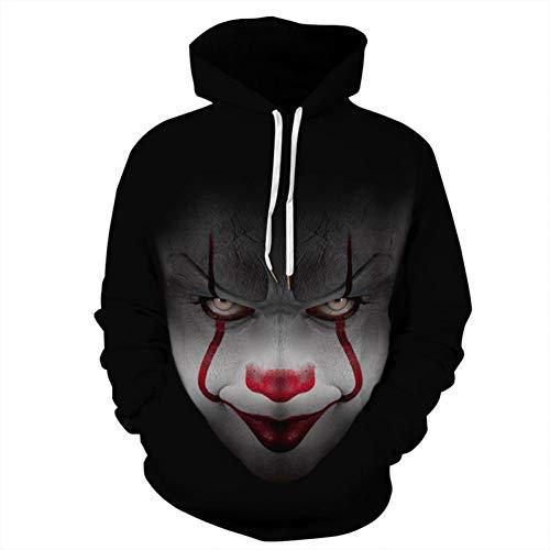 Nxddggacs 3D-Pullover Blumenclown Hoodie-Horror-Geschichte 3D Sweatshirt Halloween lustige Sudadera Hombre Frauen/Männer Pullover Solf Sportwear Tops
