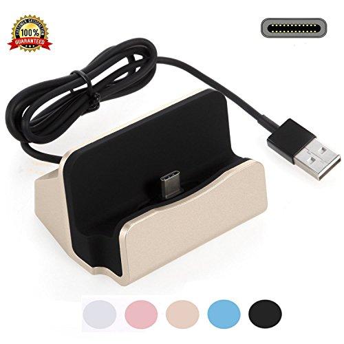 USB Ladegerät Charger Dock,YooGoal TYPE-C Ladestation mit USB-C 3.1 Dockingstation Handy Halterung Data Sync-Ladekabel fürSamsung Galaxy S8, OnePlus , Huawei P9 P10, LG G5, HTC 10, Google Pixel, Xperia XZ P XZs Z5 und weitere USB-C-Smartphone - Gold