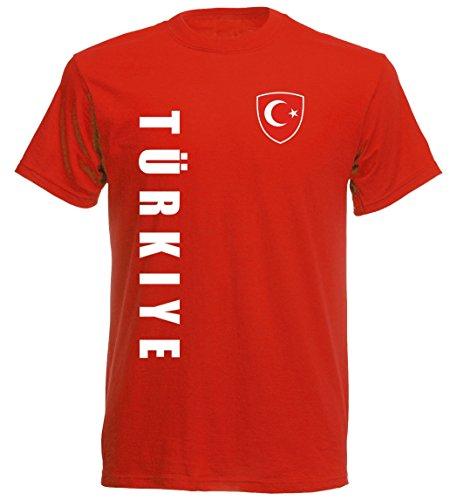 Türkei Kinder T-Shirt - TS-10 - EM 2016 - rot - Fussball Trikot (140)