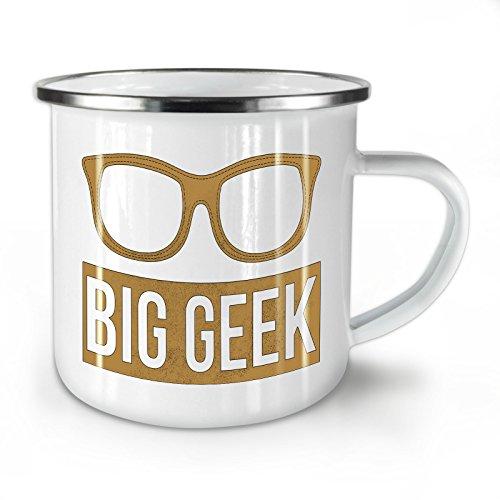 Wellcoda Groß Brille Nerd Geek Emaille-Becher, Geeky - 10 Unzen-Tasse - Kräftiger, griffiger Griff, Zweiseitiger Druck, Ideal für Camping und Outdoor