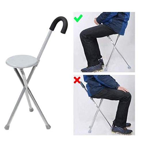 RONTENO Stylish Walking Stick Adjustable Chair Portable Folding Stool With Aluminium Outdoor Cane Seat - 1pc (Multi Color)