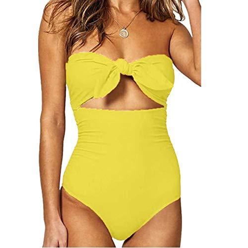 Bikinis Mujer 2019 SHOBDW Traje de Baño Mujer Una Pieza Vintage Bañadores de Mujer Sin Tirantes Push...