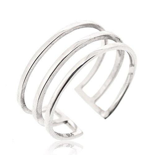 Sovats Damen Drei Linien-Ring, Größe 60 (Silber Daumen, Ring-größe 8)