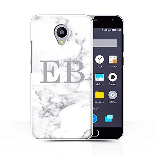 Personalisiert Weiß Marmor Mode Hülle für Meizu M2 Note/Silberner Stempel Design/Initiale/Name/Text Schutzhülle/Case/Etui