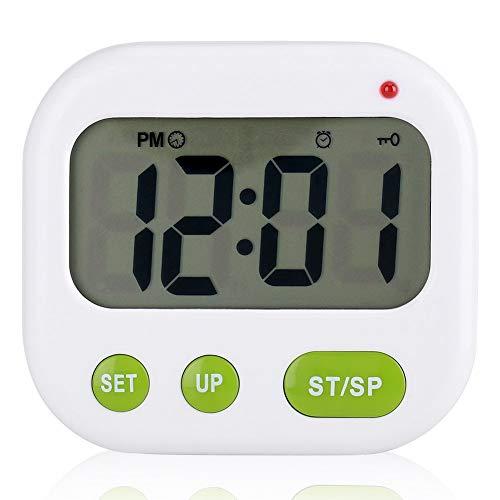Digitaler Wecker mit LCD-Vibration, batteriebetrieben, modern, tragbar, mit Hintergrundbeleuchtung, passt für Büro, Schlafzimmer, Schlafsaal und Reisen -