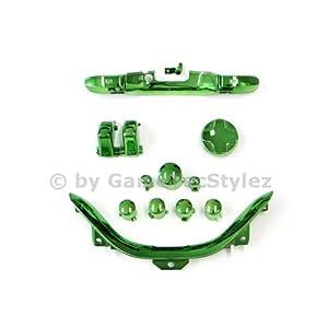 Xbox 360 Controller Mod Kit – ABXY Buttons, D-Pad, Guide Button, Start und Back Button, Bumper RB/LB, Trigger RT/LT, Bottom Trim – chrom grün