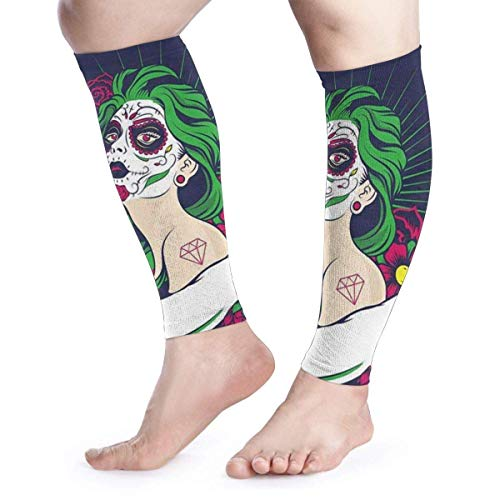 Sugar Skull Girl with Floral Ornament Calf Compression Sleeve - Leg Compression Socks for Shin Splint, Calf Pain Relief - Calf Guard for Running, Cycling, Maternity, Travel, Nurses -