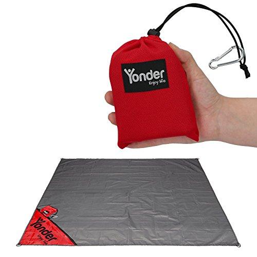 Yonder® Premium Outdoor Picknickdecke | Stranddecke mit einzigartiger Versteck-Tasche | leicht + wasserdicht + waschbar | Decke für 3 Personen (Handys Decke)