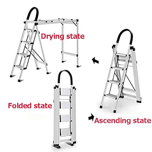 4-stufige Zusammenlegbar Leiter,haushalt Aluminium Leiter Multi-purpose Kleidung Trocknungsleiter Portable Treppenleiter Für Home Küche Garage-a -